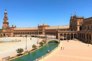 スペイン南部「アンダルシア地方」にある、「スペイン広場」の風景」